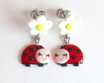 Ladybug Earrings, Ladybird Earrings For Girls Earrings, Ladybug Jewelry, Ladybird Jewelry For Girls, Gifts For Kids Jewelry, Cute Earrings