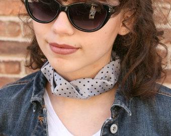 Silk Polka Dot Choker - Grey Necktie Choker - Choker Necklace - Isabella Choker. 18