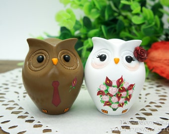 Interracial Wedding Cake Toppers Fall Themed,Fall Owl Wedding Cake Toppers,Bride And Groom Interracial Wedding Cake Toppers