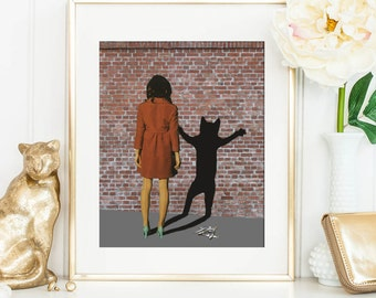 Cat art print - Cat Lady - Cat art illustration - Black Cats - Poster - Cat lover gift