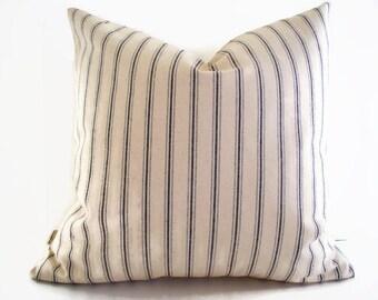 Blue Ticking Pillow Cover, Farmhouse Pillow Ballard Designs Pillow Vintage Ticking Pillow 0