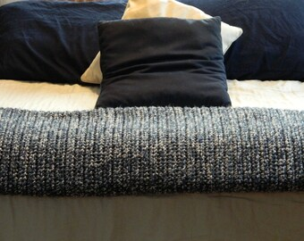 Crochet Blanket - Double Weight - Large Afghan - Blue and White