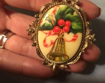 Christmas Bells & Holly cameo Pin