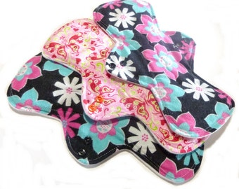 MADE TO ORDER - Reusable Cloth Menstrual pads- set of three 11 inch pads - choose your fabric and absorbency