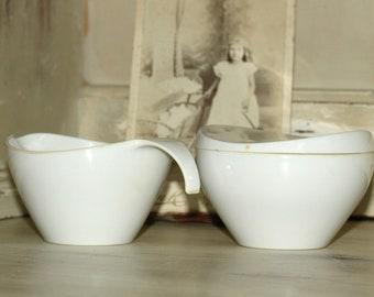 Vintage Melmac Sugar Cream White | Mid Century Modern Melmac Dinnerware #7408 #7410 White Sugar Creamer Set | Prolon Melmac 3 Pieces