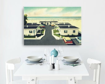 Mid Century Art on Canvas 24x36, Mid Century Motel Art Beach Home Decor, Vintage Florida Art, Vintage Beach Interior Decor, Beach Home Gifts