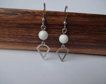 Earrings - stainless steel ear hooks - metal diamond shape charm