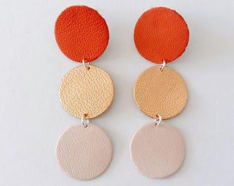 Boucles d'oreilles Paloma - Cuir rose - Agathe et Ana