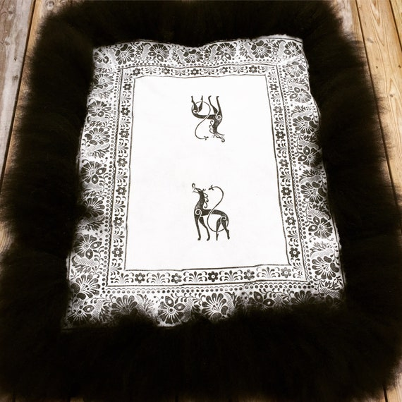 Decorative sheepskin rug ornamental hand made pelt printed fleece traditional Norwegian handcraft