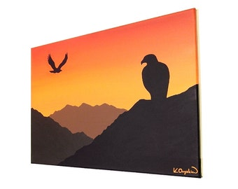 Silhouette of Eagles at Sunset acrylic painting - orange sky over a mountain landscape with birds of prey, original art on canvas