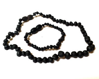 Baltic Amber Baby Teething Necklace and Anklet Cherry Unpolished