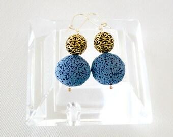 statement earrings, bohemian earrings, gypsy earrings, hippie earrings, unique earrings, blue earrings, dangle earrings