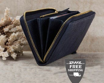 Leather Wallet Ladies wallet Leather purse Women wallet gift for women Navy blue Leather Zipper Wallet Leather clutch zipper purse