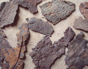 Rusty Textured Grungy Flat Metal Irregular Shape Pieces Patches Found Objects for Assemblage, Altered Art or Sculpture - Industrial Salvage