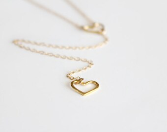Long Layering Necklace - Double Heart Lariat Necklace - Gold Vermeil or Sterling Silver