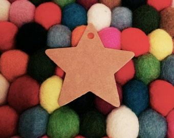 50 Star Shaped Kraft Tags, Gift Tags, Hang Tags, Product Tags - 6cm