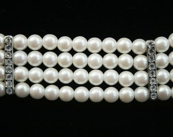 Faux Pearl and Aurora Borealis Crystal Bracelet-3 Strands-Perfect for a Wedding or Special Occasion Vintage