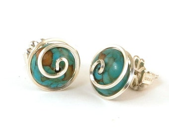Turquoise Silver Stud Earrings, Wire Wrapped Spiral Earrings, Turquoise Gemstone Post Earrings, 915 Argentium Silver Stud Earrings