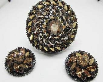 Vintage Jewelry - Rhinestone Brooch Pin and Earrings - Signed -  Made In Austria
