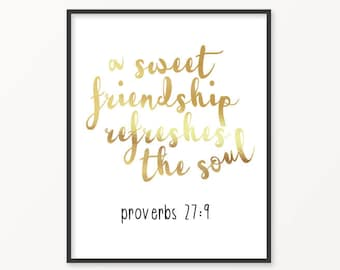 Proverbs 27:9, Gold Foil Print, Friendship, Scripture, Bible Verse, Jesus, Gift