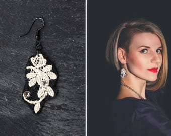 black white earrings lace earrings gift|for|women retro earrings trendy|jewelry modern leather jewelry  lace crystal jewelry Swarovski