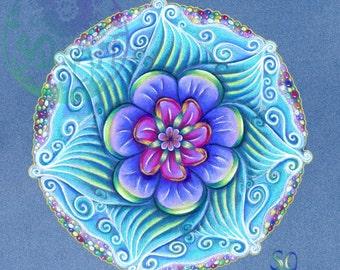 Blank Greeting Card Aqua Mandala, Mandala, fantasy art card, gift card, art card, stationery, blank for own  greeting