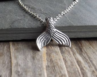 Silver Mermaid Tail necklace / Sterling Silver Mermaid Tail Pendant / Sterling silver beach necklace / Silver ocean necklace / Mermaids