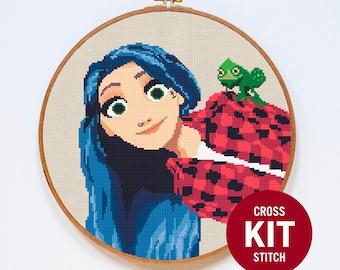 Rapunzel Cross Stitch Kit, Tangled Cross Stitch Kit, Disney Princess Cross Stitch Kit, Modern Couned Cross Stitch Pattern Instructions