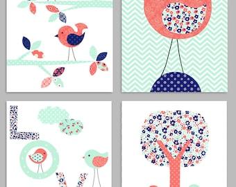 Bird Nursery Art, Baby Girl Room Decor, Coral Mint Navy, Bird Wall Art, Nursery Wall Decor, Baby Shower Gift, Bird Nursery Prints, Girl Room