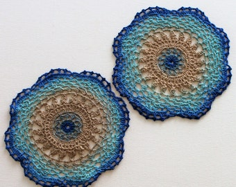 Hand Dyed Doily - Crochet Doilies Blue Royal Navy Aqua Turquoise Tan Beige Beach Sand Upcycled Home Table Top Decor