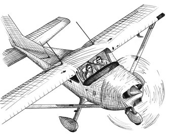 Business Meeting Aviation Airplane Drawing Print