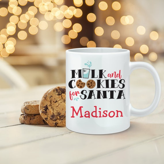 Milk and Cookies for Santa Mug, Personalize with your kids name. Customized Santa Milk and Cookies Gift under 20 dollars