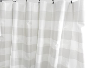 Grey  Curtains. French Grey Panels. Check Light grey Window Treatment. French grey and white. Cotton.unlined.Designers. Choose size