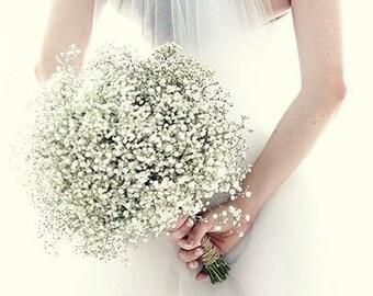 8 Simple Baby's Breath Bouquet Bridal Bouquet Dried Baby's Breath Bouquet Elegant Wedding burlap and lace