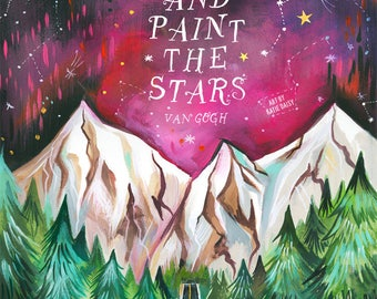 Paint the Stars - Van Gogh - various sizes - STRETCHED CANVAS - Katie Daisy art