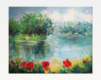 Poppies Near the River - Original oil painting on canvas
