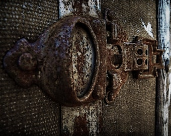 Industrial photography, modern farmhouse, antique trunk latch, wall art, home decor, modern rustic, cottage chic, rustic art, home decor