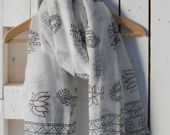 Indian Hand Block Printed Scarf,Cotton Scarf,Boho Scarf