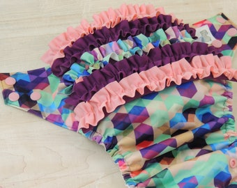 Ruffle Bum Diaper Cover - Cloth Diaper - Spring Fashion - Baby Shower Gift - Ruffle Diaper Cover - One Size Diaper