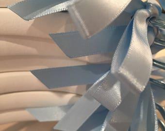 Custom ribbon choice for personalised wedding hangers
