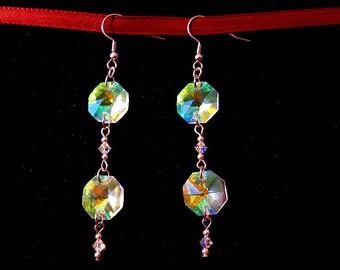 Rainbow Crystal Hexagonal Drop Earrings