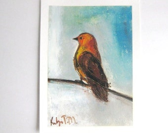 Tweet Tweet little Bird, painted winter bird in Earthy tones with clear turquoise background, affordable original artwork on Etsy  Canada