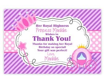 Princess Thank You Card - Purple Stripes, Pink Polka Dot, Royal Princess Crown Personalized Birthday Party Thank You -Digital Printable File
