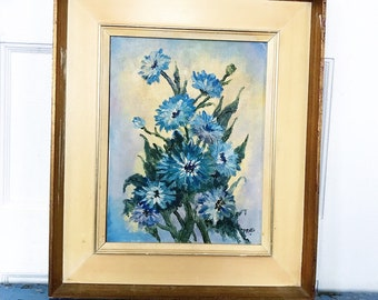 Vintage Blue Flower Painting Framed Signed 1965 Cornflowers Bachelors Buttons