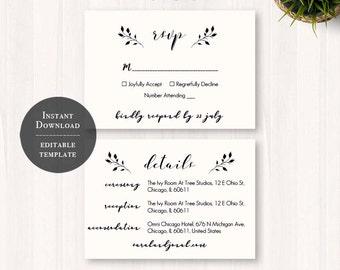 Wedding RSVP Template, 33, Printable Wedding Template, Editable RSVP Card, Wedding Rsvp Template, Instant Download, DIY Wedding, Rustic
