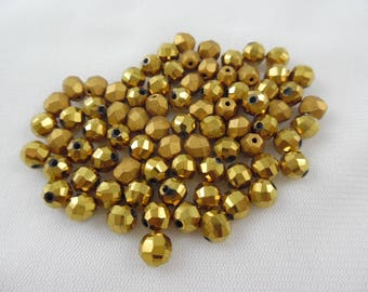 Gold Bronze Glass Beads, 4 mm Spacer Beads, Hexagon Faceted Glass, 78 Count, Loose Beads