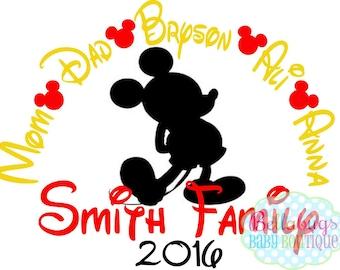 Vacances en famille à Disney fer sur transfert - Mickey Mouse - Disney - personnalisé