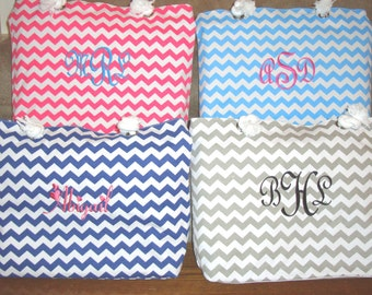 Bridesmaid Gift Chevron Tote Beach Bag Personalized Embroidered Bridesmaids Gifts
