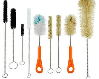 Bottle and Tube Brush Cleaning Set, 9 Sizes & Shapes, Natural and Synthetic Bristles