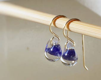 Water Droplet Earrings - Borosilicate Glass Teardrops on Gold Filled Wires in Navy Blue - Also Available in Sterling Silver